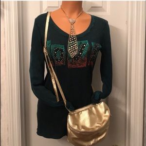 Winter Green Long Sleeved Love Thermal Shirt Sz L